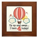 Fourth 4th Birthday Hot Air Balloon Framed Tile