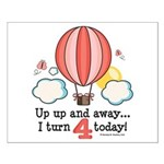 Fourth 4th Birthday Hot Air Balloon Small Poster