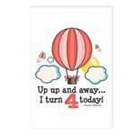 Fourth 4th Birthday Hot Air Balloon Postcards (Pac