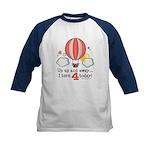 Fourth 4th Birthday Hot Air Balloon Kids Baseball