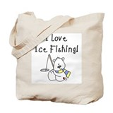 I Love Ice Fishing Tote Bag