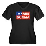 Free Burma Women's Plus Size V-Neck Dark T-Shirt