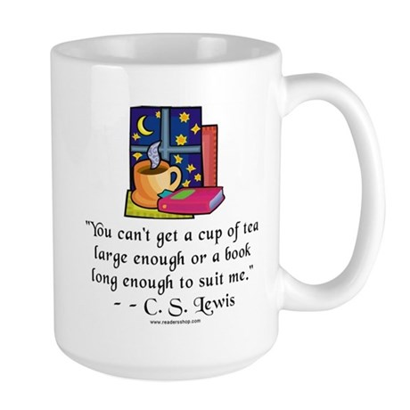 Tea & Books w Quote Large Mug