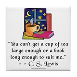 Tea &amp; Books w Quote Tile Coaster