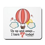 Seventh 7th Birthday Hot Air Balloon Mousepad