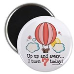Seventh 7th Birthday Hot Air Balloon Magnet