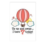 Seventh 7th Birthday Hot Air Balloon Postcards (Pa