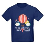 Seventh 7th Birthday Hot Air Balloon Kids Dark T-S