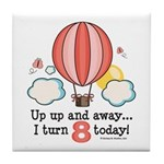Eighth 8th Birthday Hot Air Balloon Tile Coaster