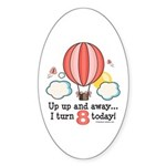 Eighth 8th Birthday Hot Air Balloon Oval Sticker