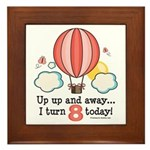 Eighth 8th Birthday Hot Air Balloon Framed Tile