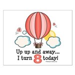 Eighth 8th Birthday Hot Air Balloon Small Poster