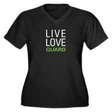 Live Love Guard Women's Plus Size V-Neck Dark T-Sh