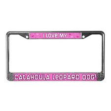 Pink PD Catahoula Leopard Dog License Plate Frame