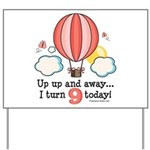 Ninth 9th Birthday Hot Air Balloon Yard Sign