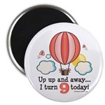 Ninth 9th Birthday Hot Air Balloon Magnet