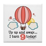 Ninth 9th Birthday Hot Air Balloon Tile Coaster