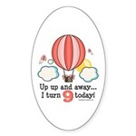 Ninth 9th Birthday Hot Air Balloon Oval Sticker