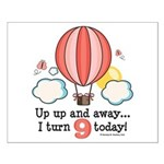 Ninth 9th Birthday Hot Air Balloon Small Poster