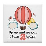 Second 2nd Birthday Hot Air Balloon Tile Coaster