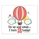 Second 2nd Birthday Hot Air Balloon Small Poster
