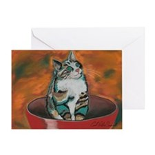'Bowl o Kitty' Blank Greeting Card