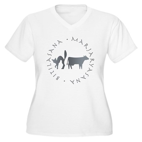Cat-Cow Women's Plus Size V-Neck T-Shirt
