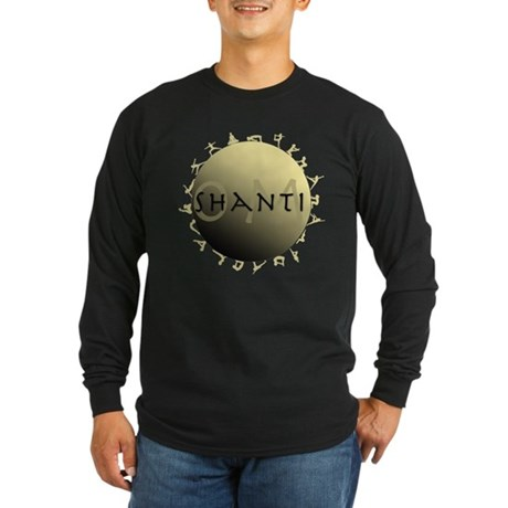 Om Shanti Long Sleeve Dark T-Shirt