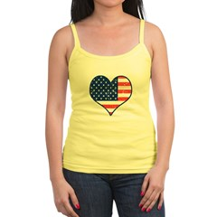 Patriotic Heart with Flag Jr. Spaghetti Tank