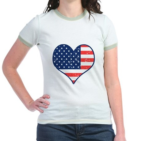 Patriotic Heart with Flag Jr. Ringer T-Shirt