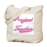 Preschool Teacher Pink Text Tote Bag