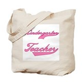 Kindergarten Teacher Pink Text Tote Bag