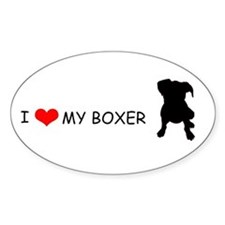 """I Love My Boxer"" Oval Decal"