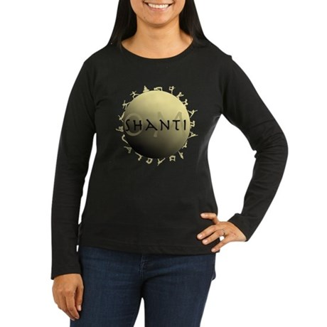 Om Shanti Women's Long Sleeve Dark T-Shirt