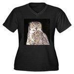 Great Horned Owl Women's Plus Size V-Neck Dark T-S