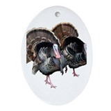 Wild Turkey Pair Oval Ornament