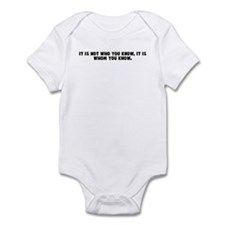 It is not who you know it is  Infant Bodysuit