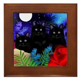 BLACK CATS MOON GARDEN Framed Tile
