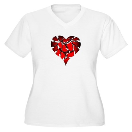 Broken Heart Women's Plus Size V-Neck T-Shirt