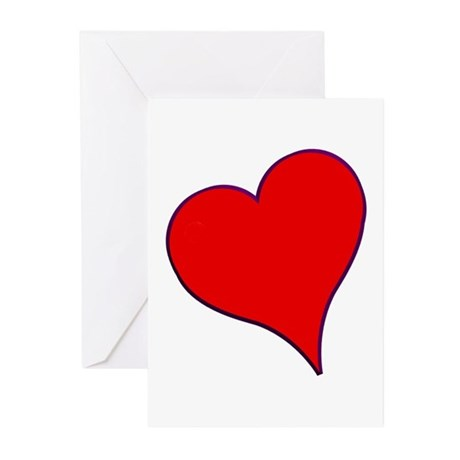 Big Red Heart Valentine Greeting Cards (Pk of 10)