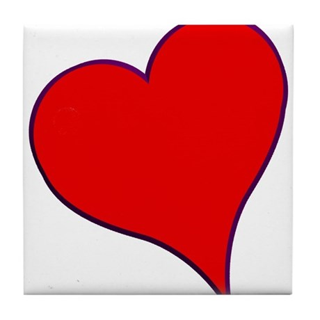 Big Red Heart Valentine Tile Coaster