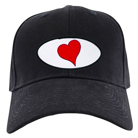 Big Red Heart Valentine Black Cap