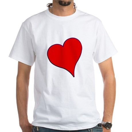 Big Red Heart Valentine White T-Shirt