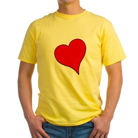 Big Red Heart Valentine Yellow T-Shirt