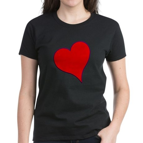 Big Red Heart Valentine Women's Dark T-Shirt