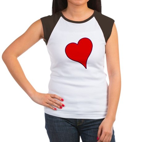 Big Red Heart Valentine Women's Cap Sleeve T-Shirt