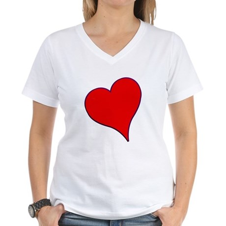 Big Red Heart Valentine Women's V-Neck T-Shirt