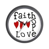 Faith, Love, Hope Wall Clock