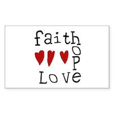 Faith, Love, Hope Rectangle Decal