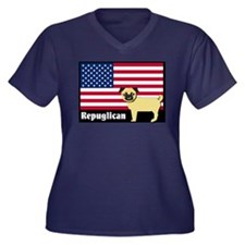 Republican pug Repuglican Women's Plus Size V-Neck